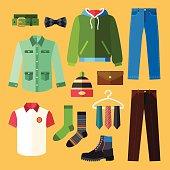 Man Clothing Icons Set With Shopping Elements