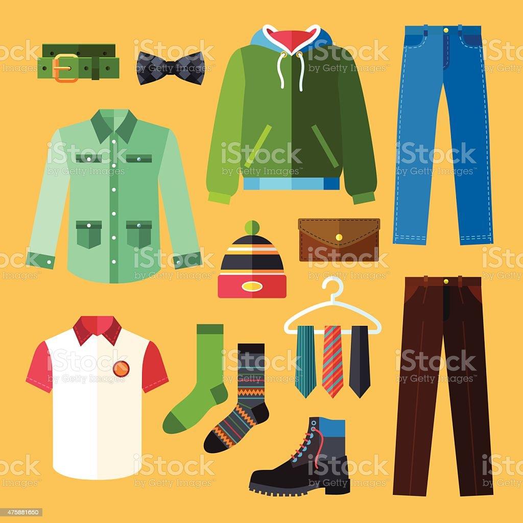 Clothing Icons Set vector art illustration