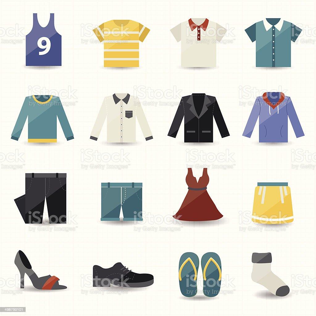 Clothing Icons vector art illustration
