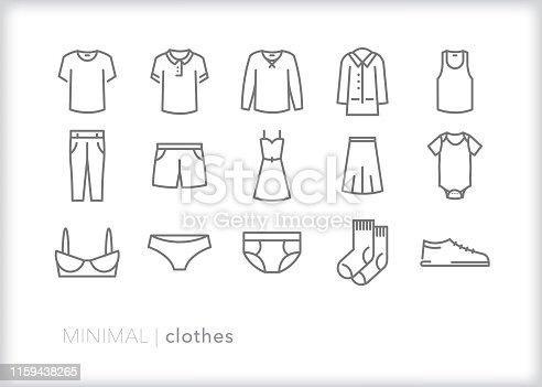 Set of 15 clothing line icons representing shirts, tank top, dress, pants, skirt, shorts, coat, bra, underwear, socks, shoe, and onesie