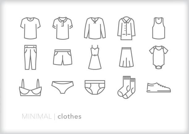 zestaw ikon wiersza elementu odzieży - odzież stock illustrations