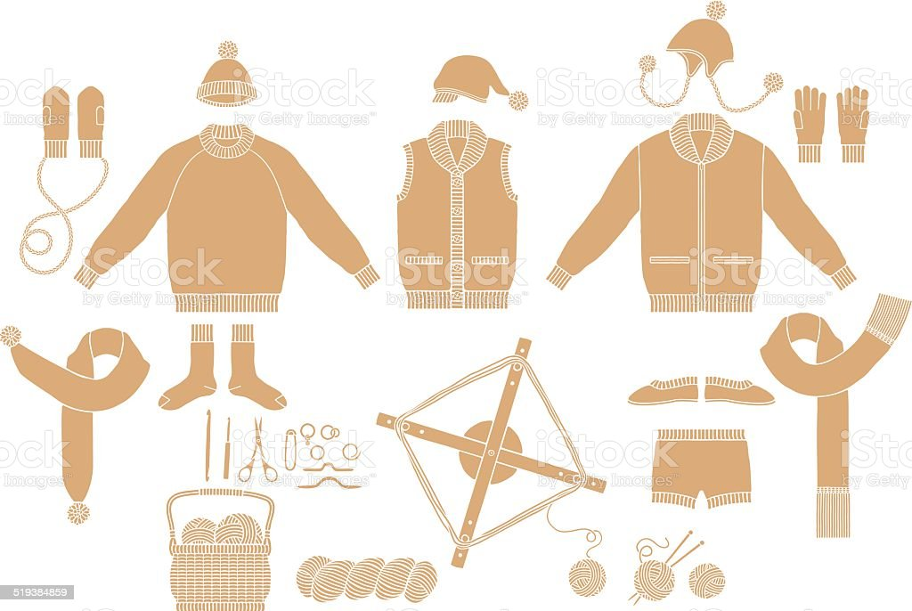 Clothing Knit. Tool of hand-knitted vector art illustration