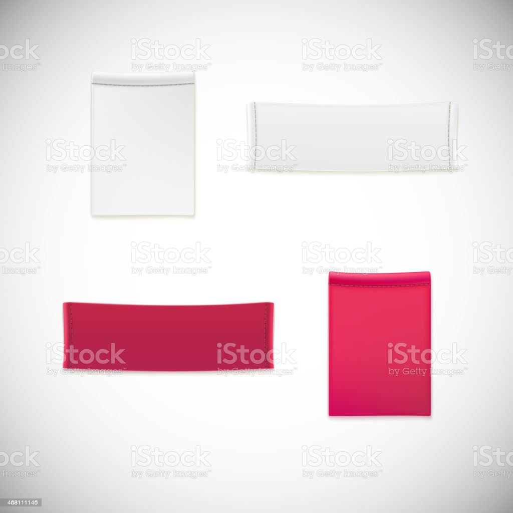 A clothing label of realistic white and pink vectors vector art illustration