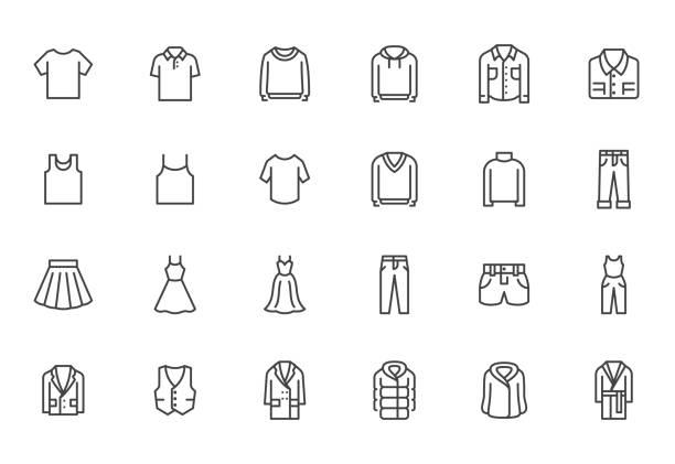 zestaw ikon linii odzieży. sukienka, koszulka polo, dżinsy, płaszcz zimowy, spodnie kurtki, spódnica minimalne ilustracje wektorowe. proste znaki konspektu do aplikacji mody. pixel perfect. edytowalne obrysy - odzież stock illustrations