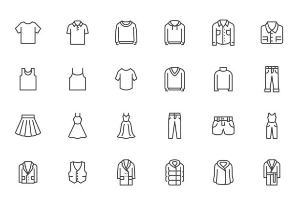 Clothing line icon set. Dress, polo t-shirt, jeans, winter coat, jacket pants, skirt minimal vector illustrations. Simple outline signs for fashion application. Pixel Perfect. Editable Strokes Clothing line icon set. Dress, polo t-shirt, jeans, winter coat, jacket pants, skirt minimal vector illustrations. Simple outline signs for fashion application. Pixel Perfect. Editable Strokes. shirt stock illustrations