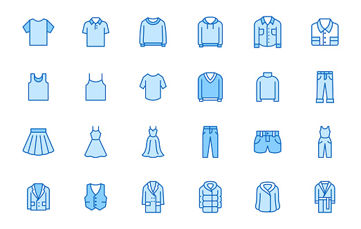 Clothing line icon set. Dress, polo t-shirt, jeans, winter coat, jacket pants, skirt minimal vector illustrations. Simple outline signs for fashion application. Blue color, Editable Stroke