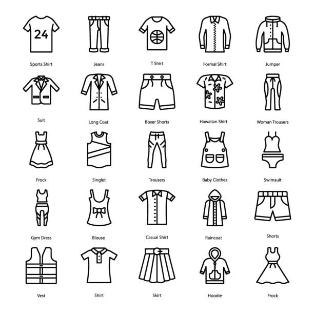 Bекторная иллюстрация Clothing Line Icons Pack