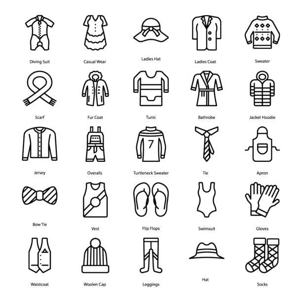 Bекторная иллюстрация Clothing Line Icons Set