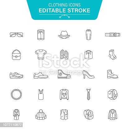 Clothing, Dress, Laundry, Denim, Accessories, Jewelry, Editable Stroke Icon Set