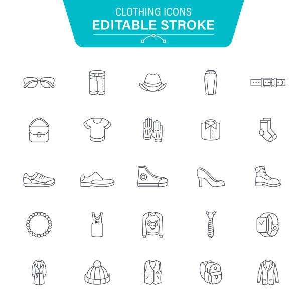 Clothing Line Icons Clothing, Dress, Laundry, Denim, Accessories, Jewelry, Editable Stroke Icon Set shoe stock illustrations