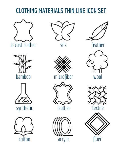stockillustraties, clipart, cartoons en iconen met clothing materials thin line icons - wollig