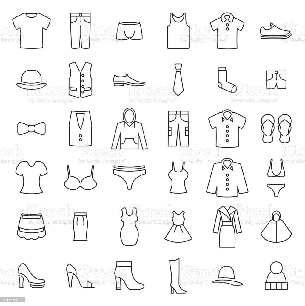 Kleidung oder Kleidung oder Mode für Mann & Frau Symbole dünne Linie Vektor-Illustration-Set – Vektorgrafik