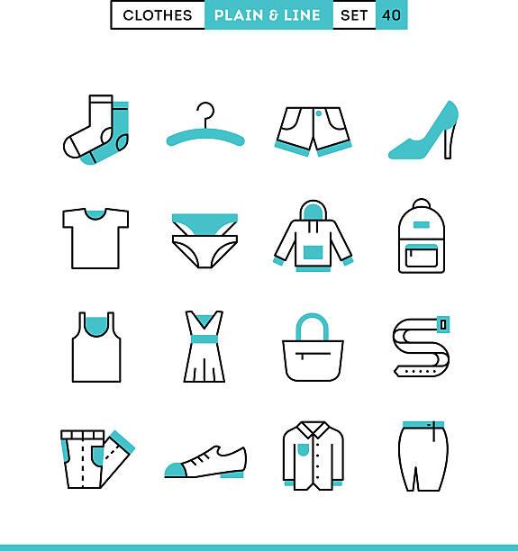 illustrations, cliparts, dessins animés et icônes de les vêtements. simple et la ligne icônes ensemble, design plat - homme slip