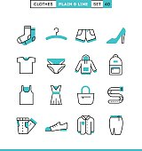 Clothing. Plain and line icons set, flat design