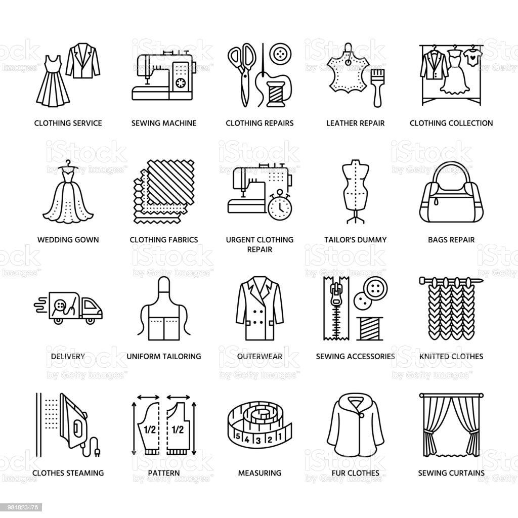 Réparation de vêtements, altérations plat ligne icônes ensemble. Services - couture, des vêtements à la vapeur, des rideaux couture de magasin de tailleur. La valeur linéaires signes, logos pour atelier - Illustration vectorielle