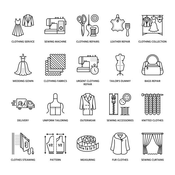 illustrazioni stock, clip art, cartoni animati e icone di tendenza di clothing repair, alterations flat line icons set. tailor store services - dressmaking, clothes steaming, curtains sewing. linear signs set, logos for atelier - tailor working