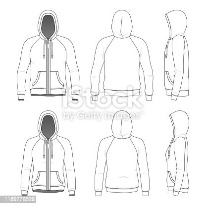 Blank templates of man and woman raglan zipper hoodie in front, back and side views. Vector illustration. Isolated on white background.