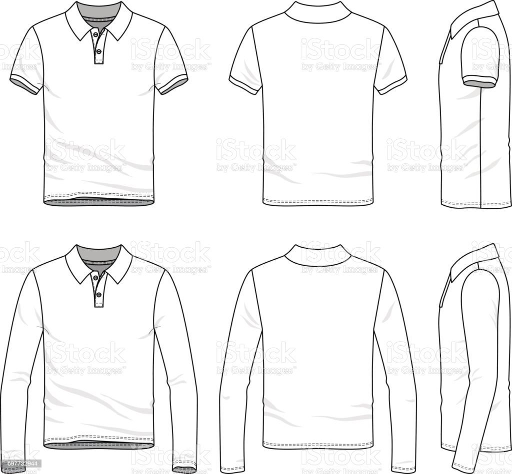 Clothing set of polo shirt. vector art illustration
