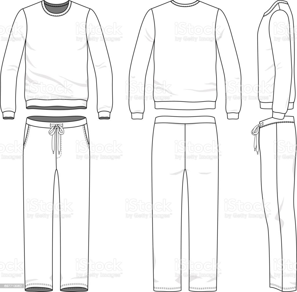 Clothing set of sweat suit. vector art illustration