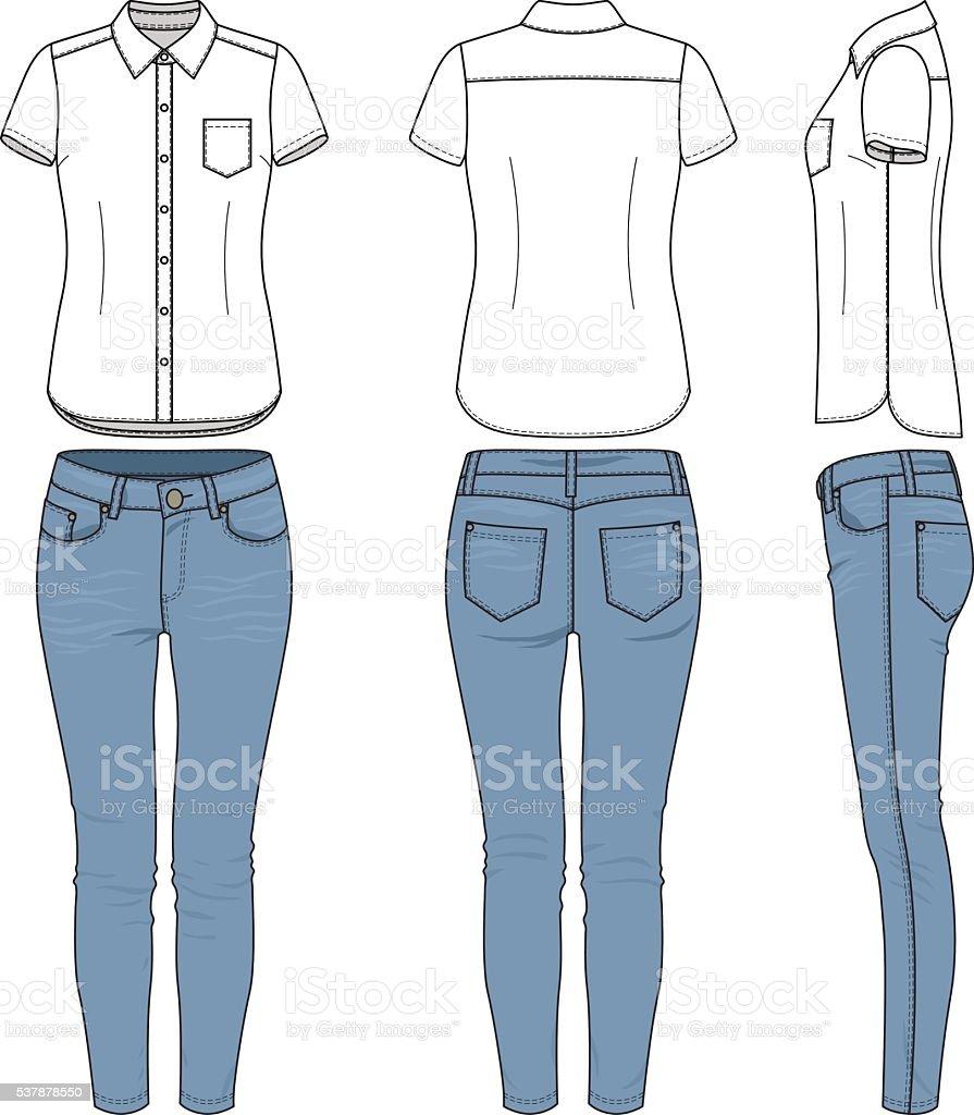 De ropa. Camisa, pantalones. - ilustración de arte vectorial