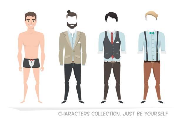 illustrations, cliparts, dessins animés et icônes de ensembles de vêtements pour hommes. caractère du constructeur. - homme slip
