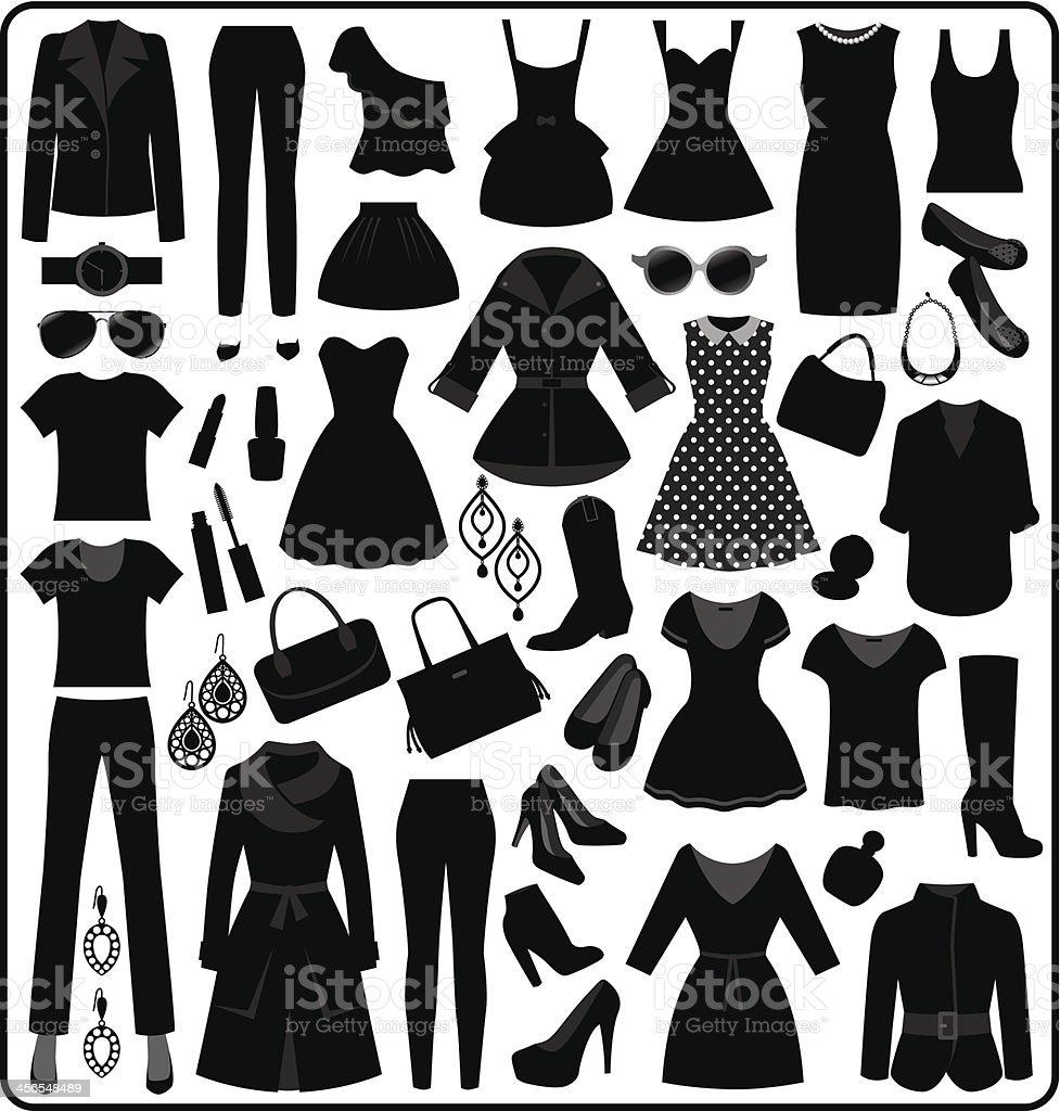 Ropa Silueta, blanco y negro - ilustración de arte vectorial