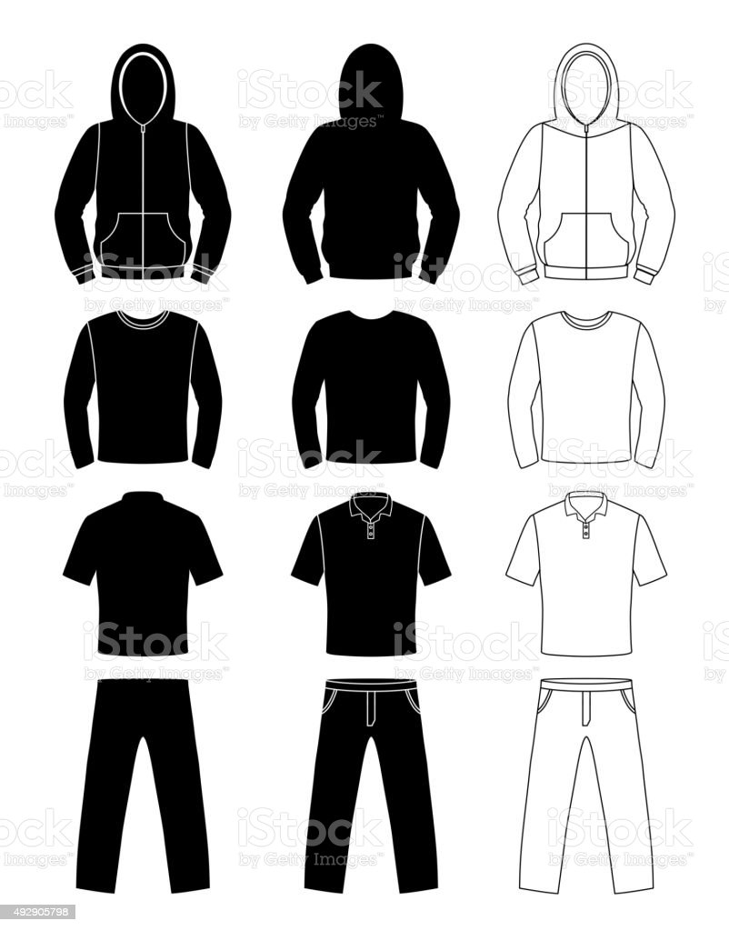 Clothing silhouettes, hoodie, t-shirt and Long sleeve, pants vector art illustration