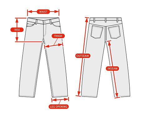 Clothing size chart vector illustration ( Slim denim pants )