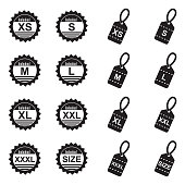 Clothing Size Icons. Black Flat Design. Vector Illustration.