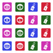 Clothing Size Icons. White Flat Design In Square. Vector Illustration.