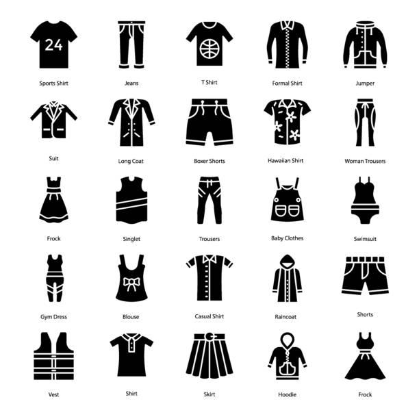 Bекторная иллюстрация Clothing Solid Icons Pack