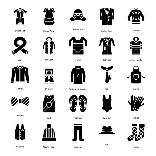 Bекторная иллюстрация Clothing Solid Icons Set