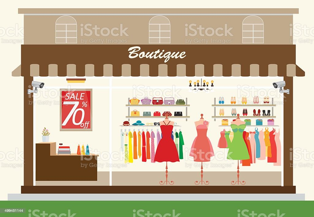 Clothing store building and interior with products on shelves. vector art illustration
