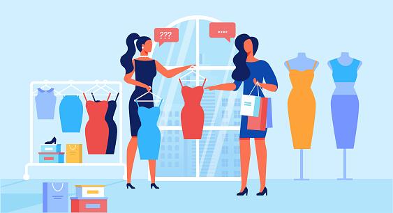Clothing Store Customer Service Flat Illustration Stock Illustration - Download Image Now - iStock