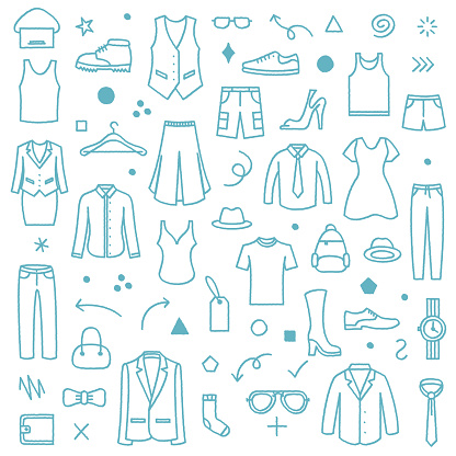 Clothing Store Front Doodle Pattern Illustration