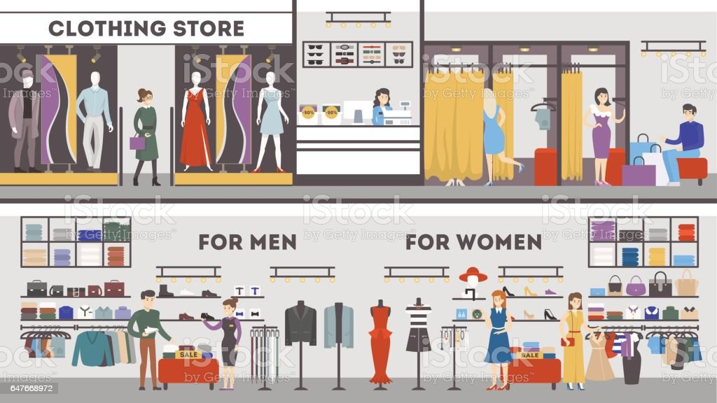 Clothing store interior set. vector art illustration