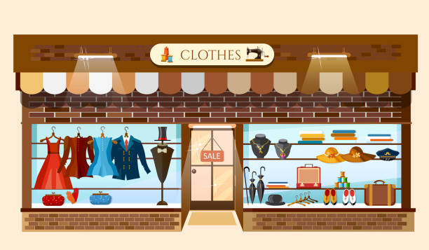 clothing store showcases fashion shop interior - modeboutique stock-grafiken, -clipart, -cartoons und -symbole
