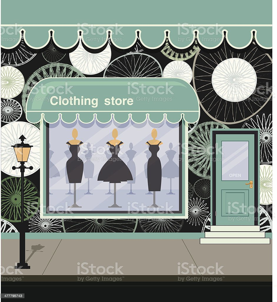 Clothing store vector art illustration
