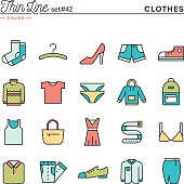Clothing, thin line color icons set, vector illustration