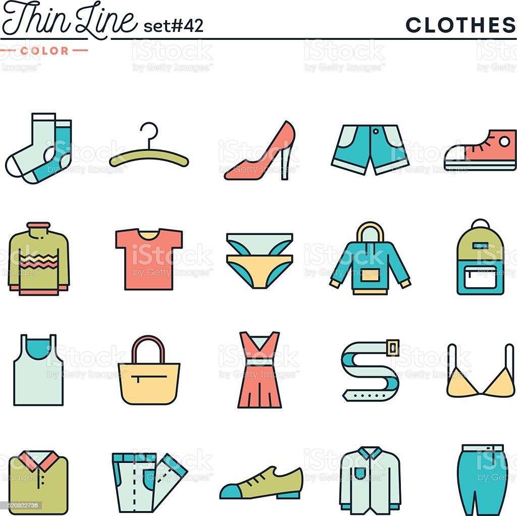 Clothing, thin line color icons set vector art illustration