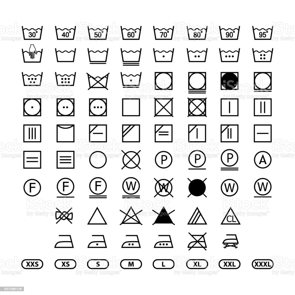 Clothing Washing Label Instructions Laundry Symbols Icon Set Washing
