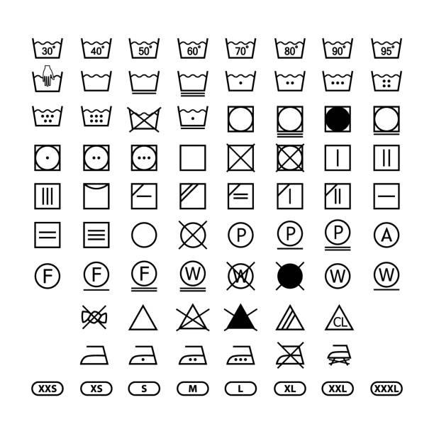 clothing washing label instructions, laundry symbols icon set, washing label icons for clothes clothing washing label instructions, laundry symbols icon set, washing label icons for clothes washing stock illustrations