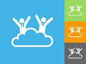 Cloud 9 Businessmen Flat Icon on Blue Background