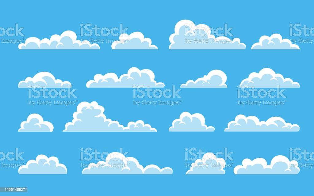 Cloud. Abstract white cloudy set isolated on blue background. Vector illustration Cloud. Abstract white cloudy set isolated on blue background. Vector illustration. Abstract stock vector