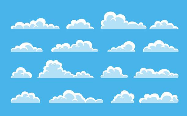 chmurze. abstrakcyjny biały mętny zestaw izolowany na niebieskim tle. ilustracja wektorowa - chmura stock illustrations