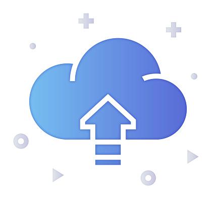 Cloud Adoption Gradient Fill Color & Paper-Cut Style Icon Design