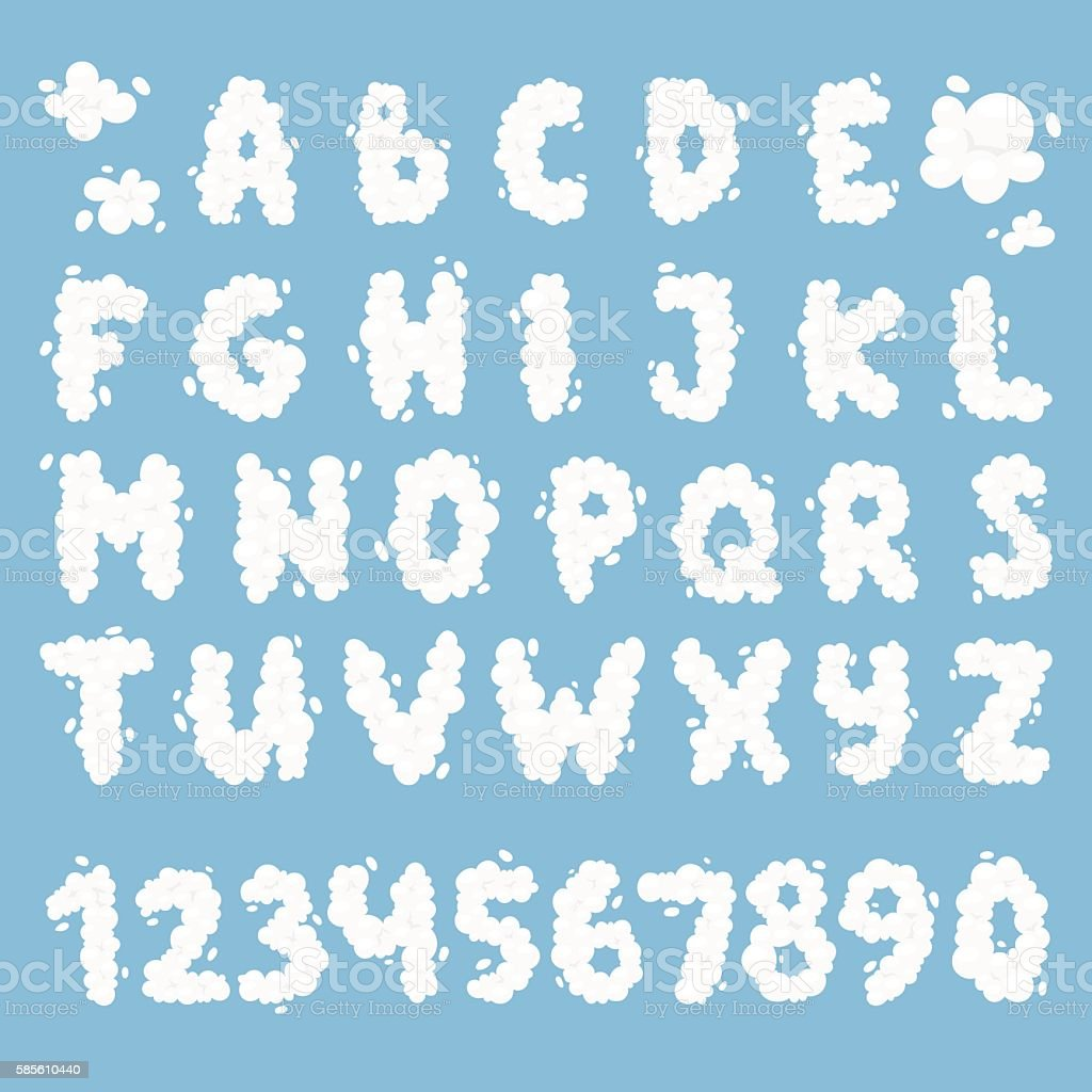 Cloud alphabet vector set. vector art illustration
