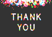 Vector thank you phrase in sparkling bokeh effect font. Confetti above the phrase. Gratitude and appreciation concept