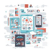 A concept illustration with flat design-styled vectors themed on cloud analytics. EPS 10 file, layered & grouped,