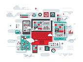 Cloud Analytics Flat Design Concept